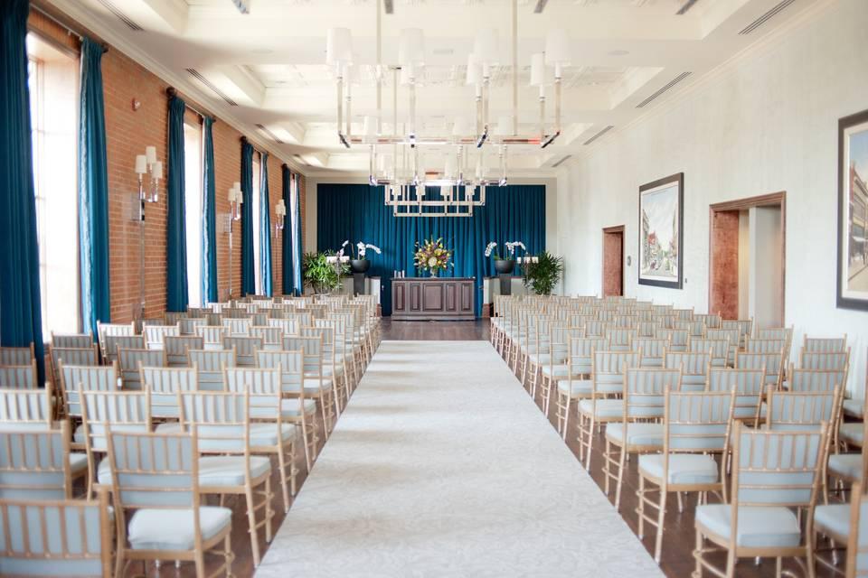 Indoor wedding ceremony area