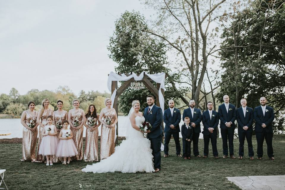 The newlyweds and the attendants