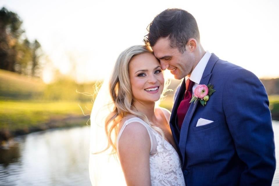 Newlyweds sharing delight