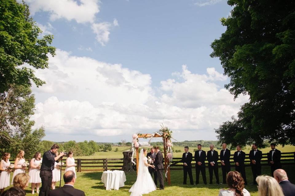 Ceremony near pasture