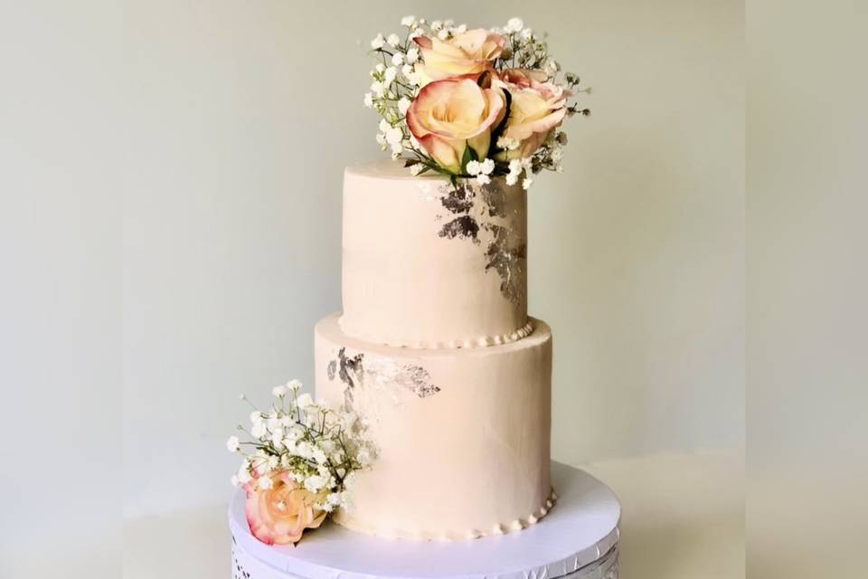 2-tier with silver & florals