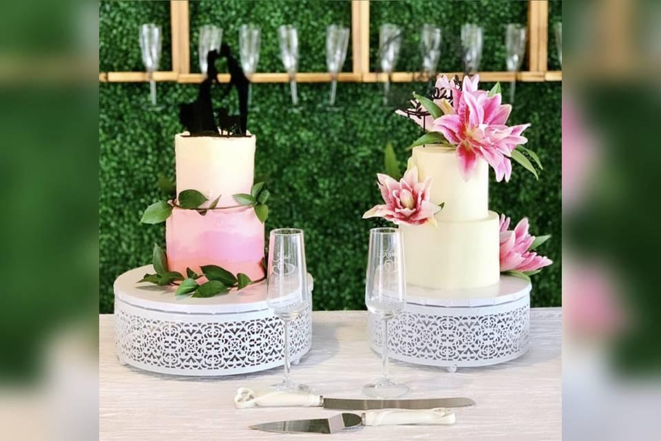 Pink ombré & lilies