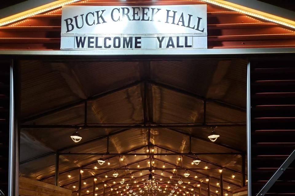 Welcome to Buck Creek Hall