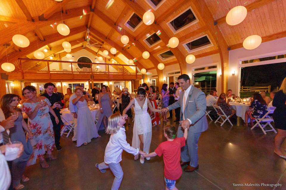 Happy couple dancing the night away inside our new pavilion.