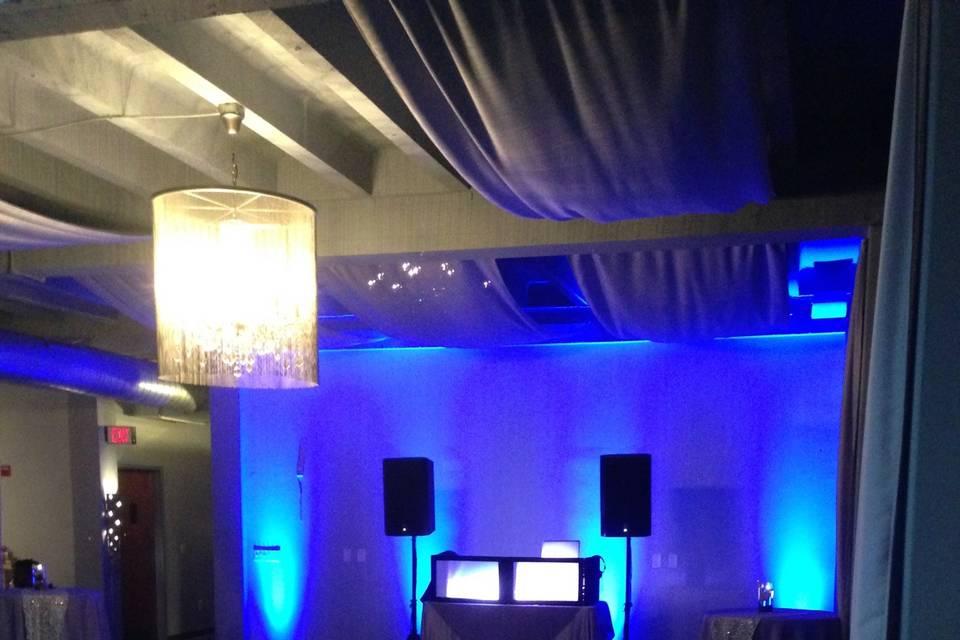 Blue dance floor lights