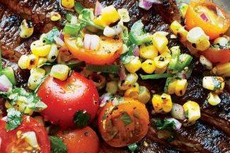 Dry Rubbed Steak with Grilled Corn and Roasted Tomato Salsa (GF)