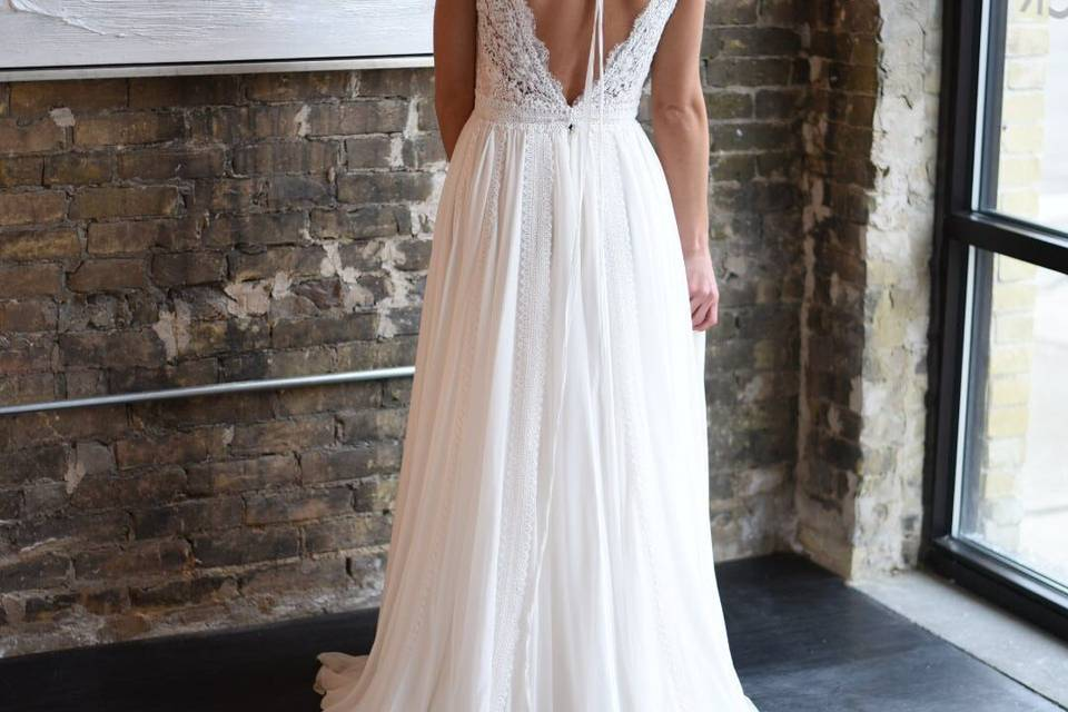 Low-V backed gown