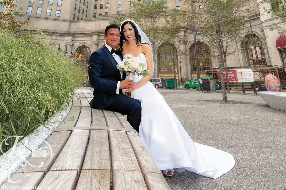 Groom and bride in a venue