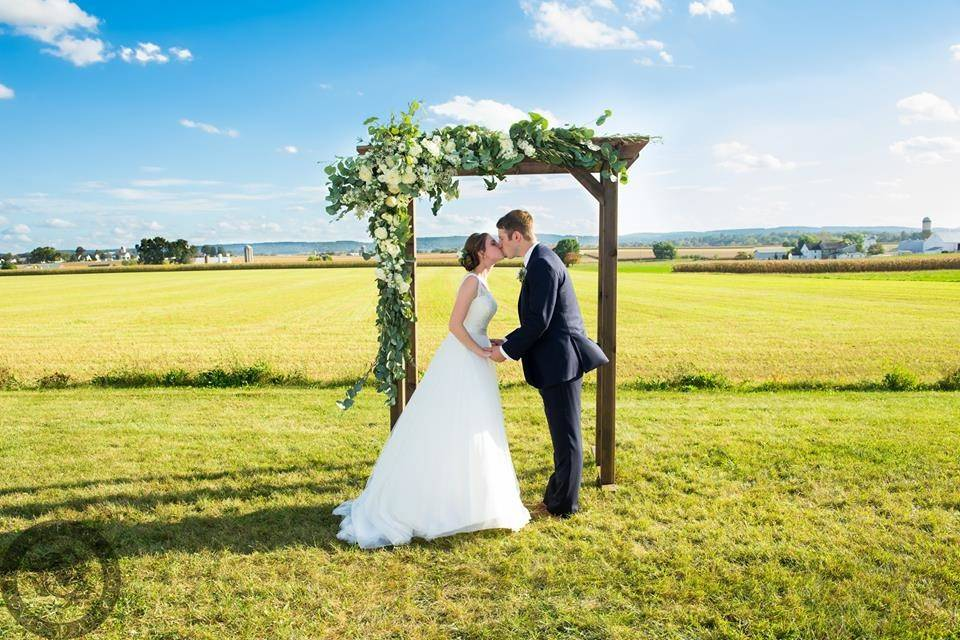 Newlyweds kissing by the arch
