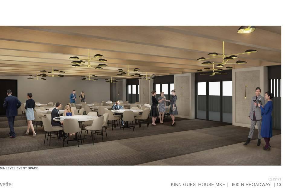 Indoor rooftop event space