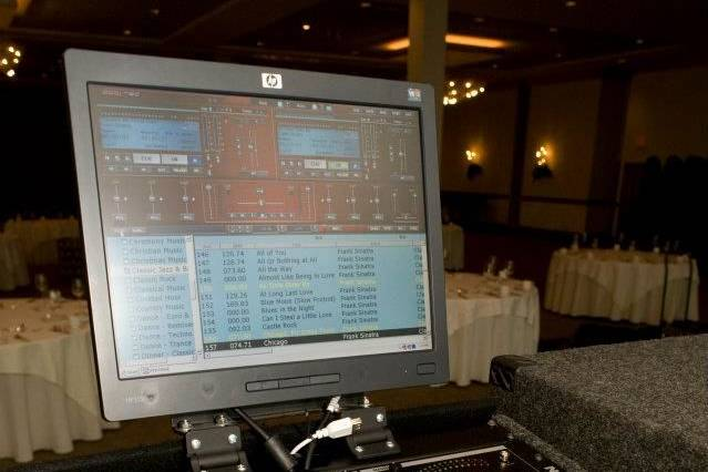 DJ's mixing table