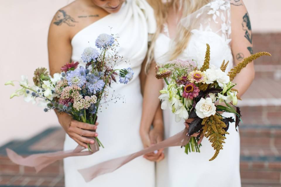 Brides holding florals
