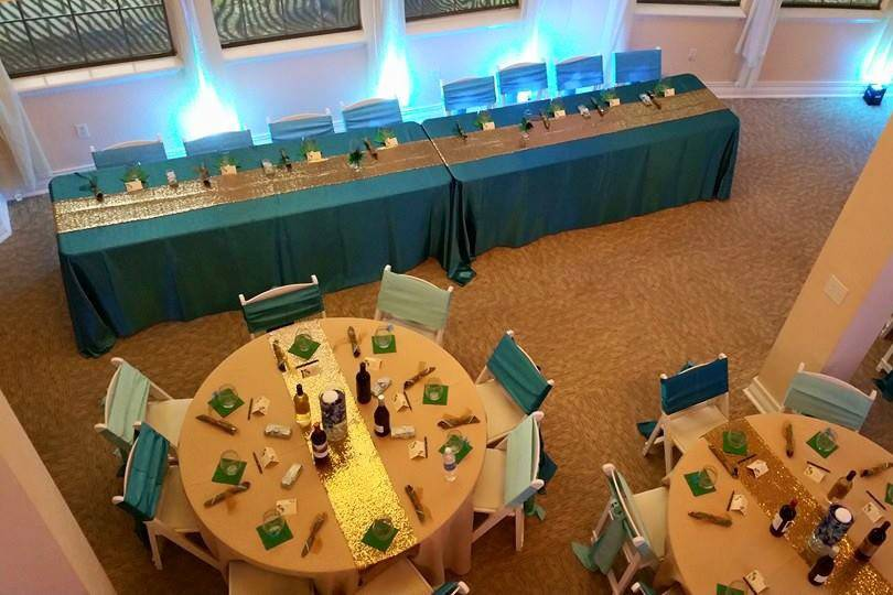Birsd's eye view of ballroom