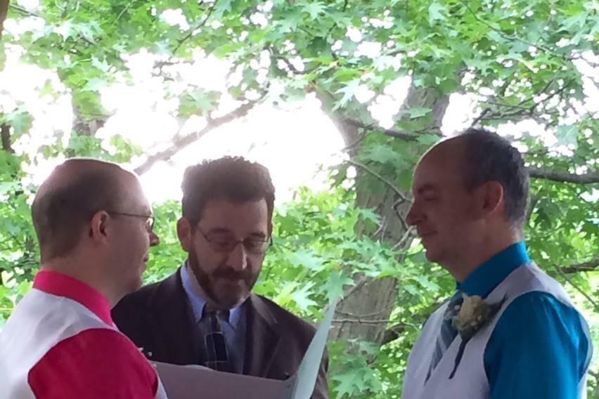 A casual outdoor same-sex, non-denominational wedding ceremony
