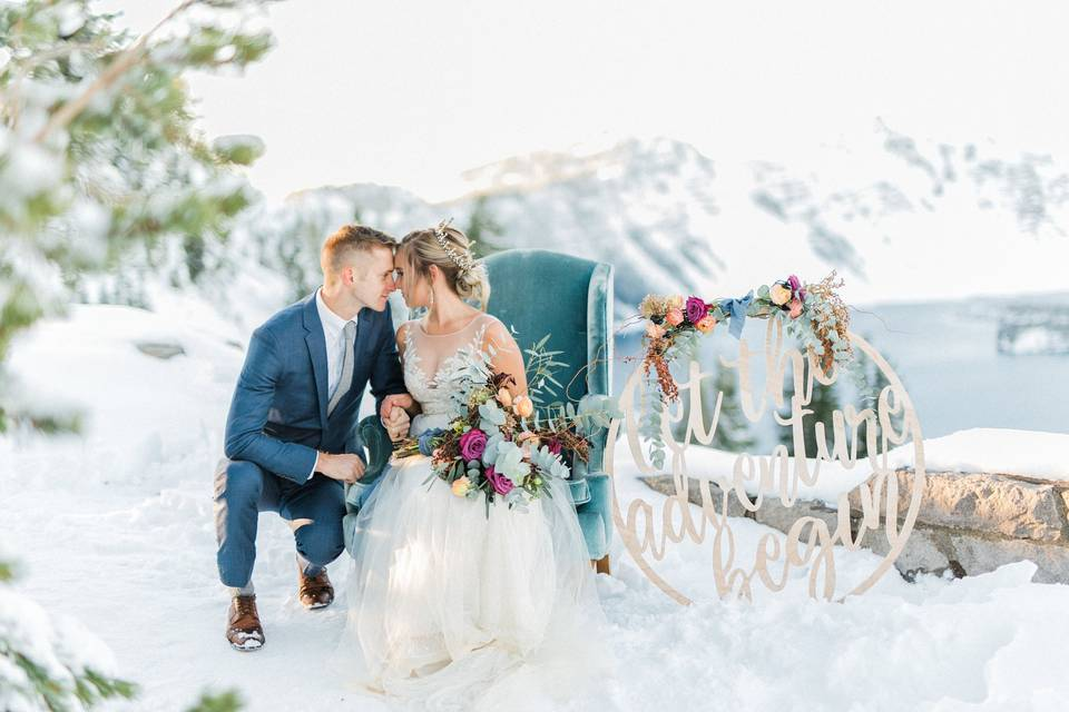 Romantic Elopement at Crater Lake National Park, featured on Green Wedding Shoes.