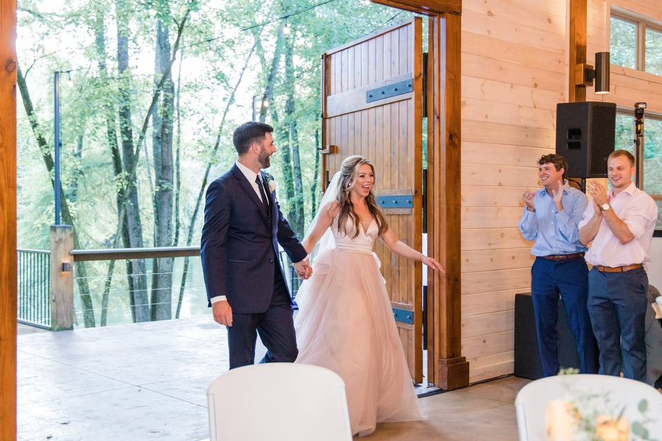 Entering their reception