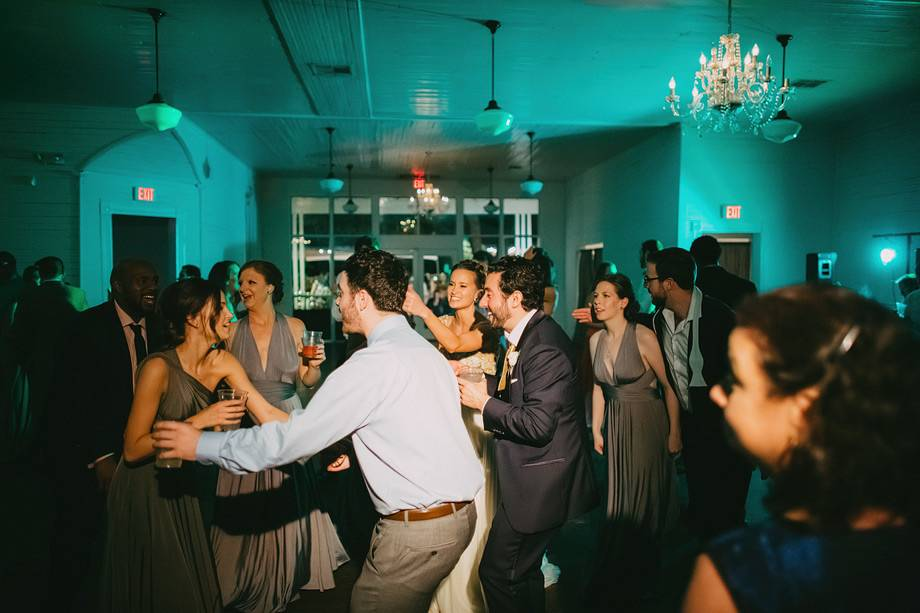 Wedding party with blue lights
