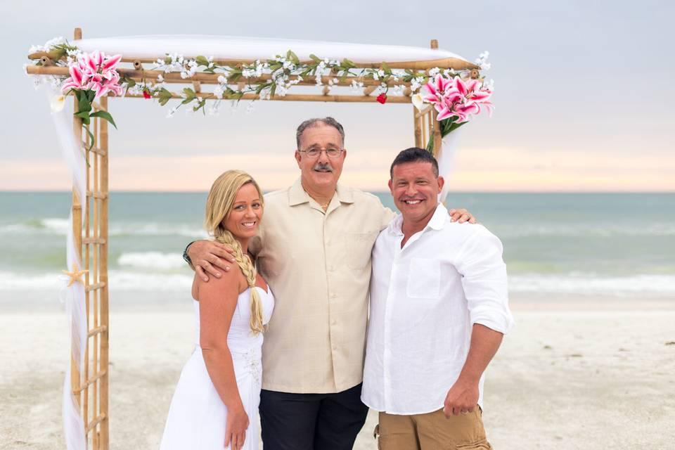 By the beach wedding arch