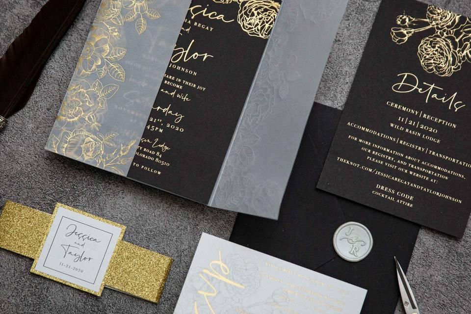 Gold foil and black