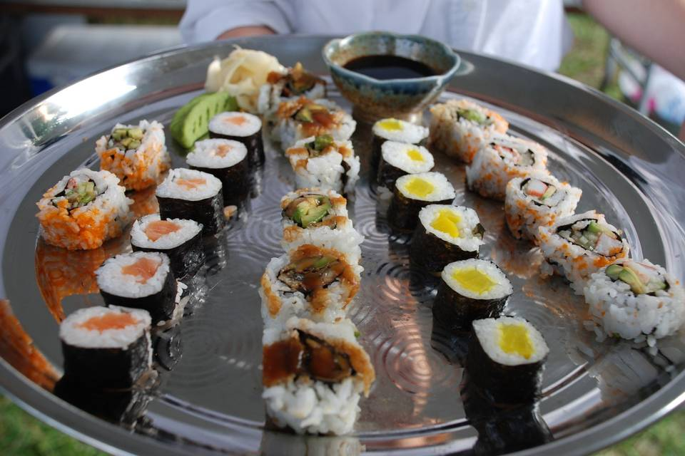 Sushi and sashimi tray
