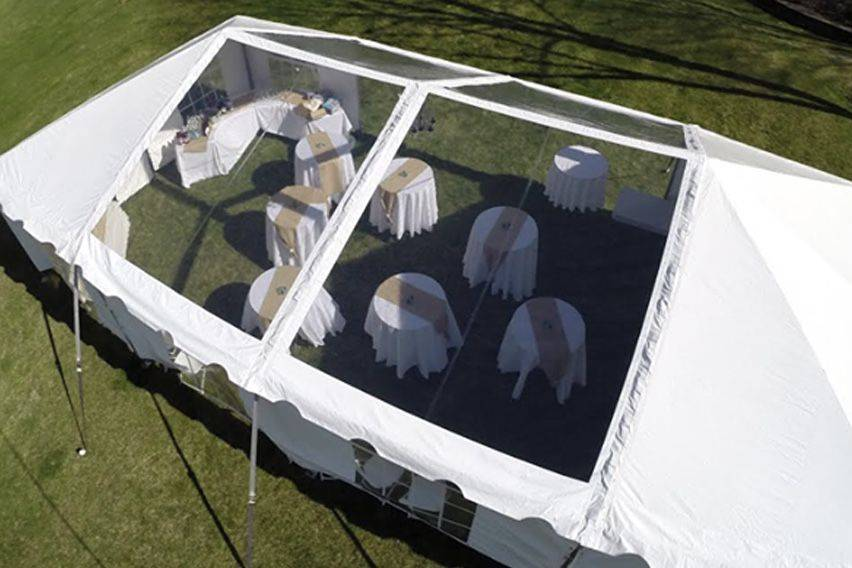 Our new addition. A clear panel frame tent.