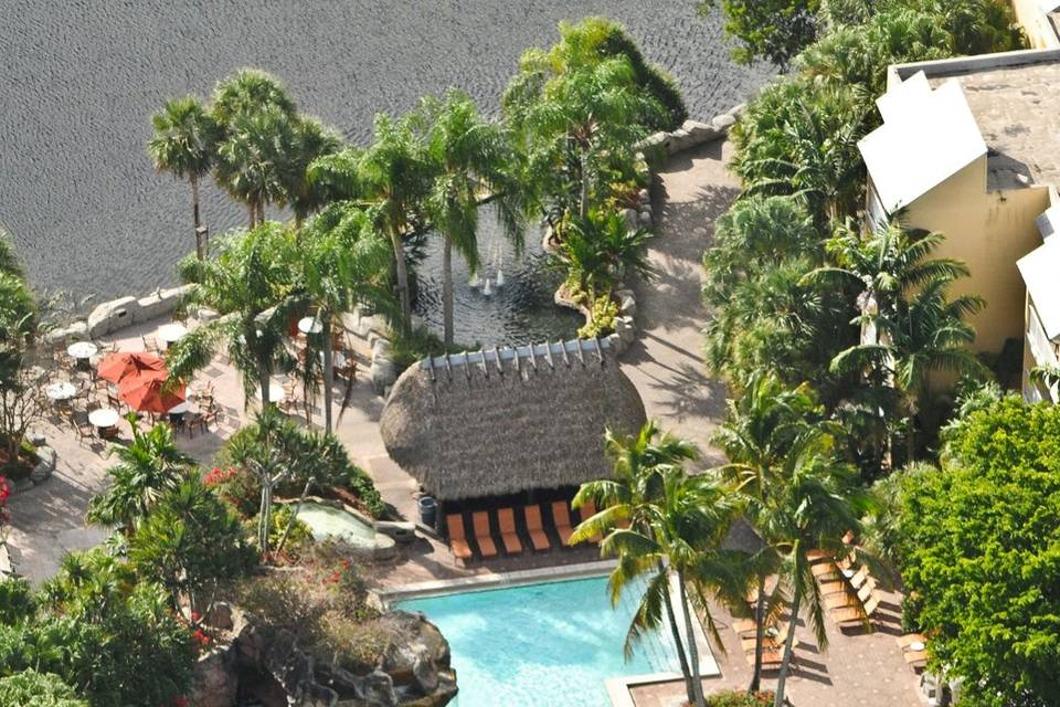 View of the main pool from above
