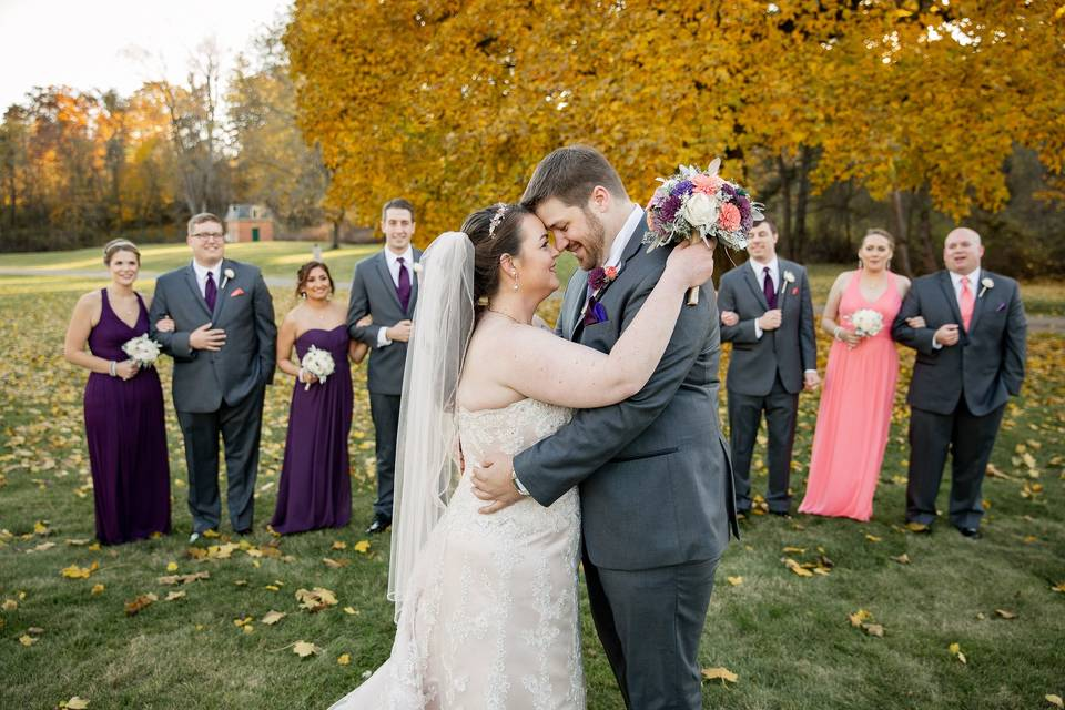 The couple and wedding party - Yellow Tree Photography