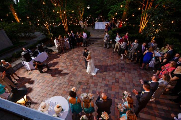Couple dancing on patio