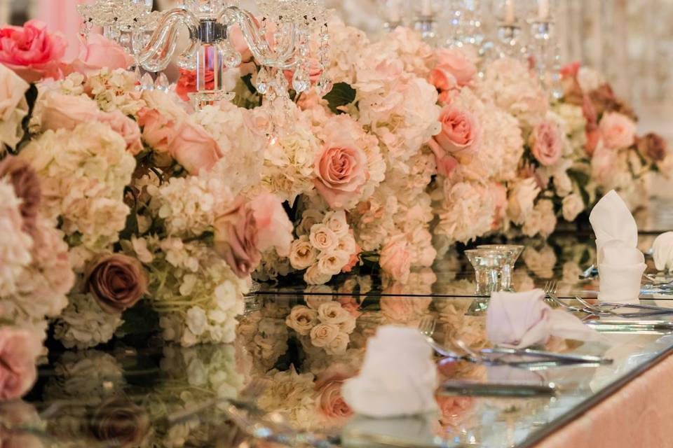 Flowers and chandeliers