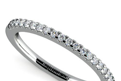 Scallop Diamond Wedding Ring in White Gold