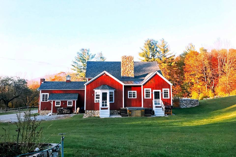 Exterior of the red event barn