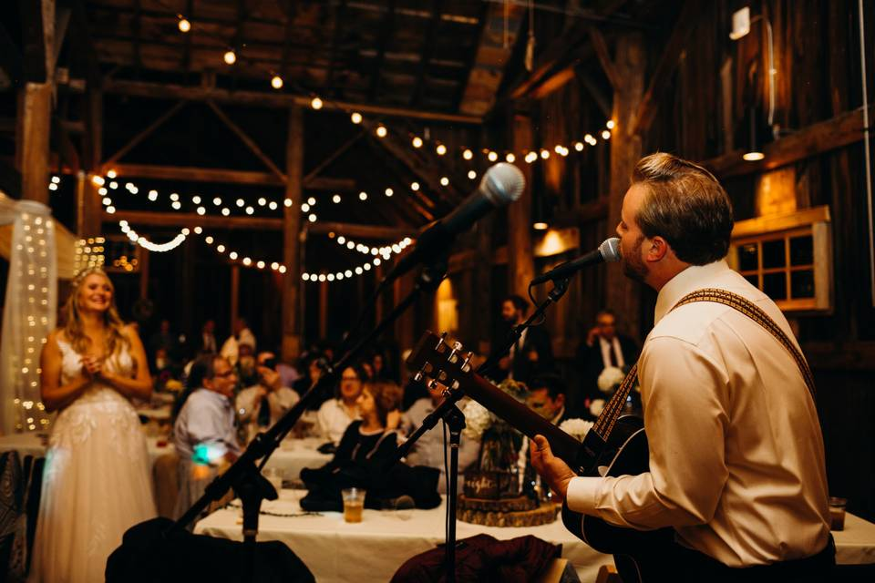 The groom plays for his bride