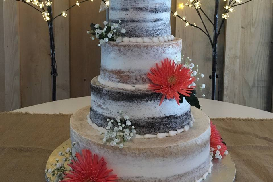 Semi-naked cake with red flowers