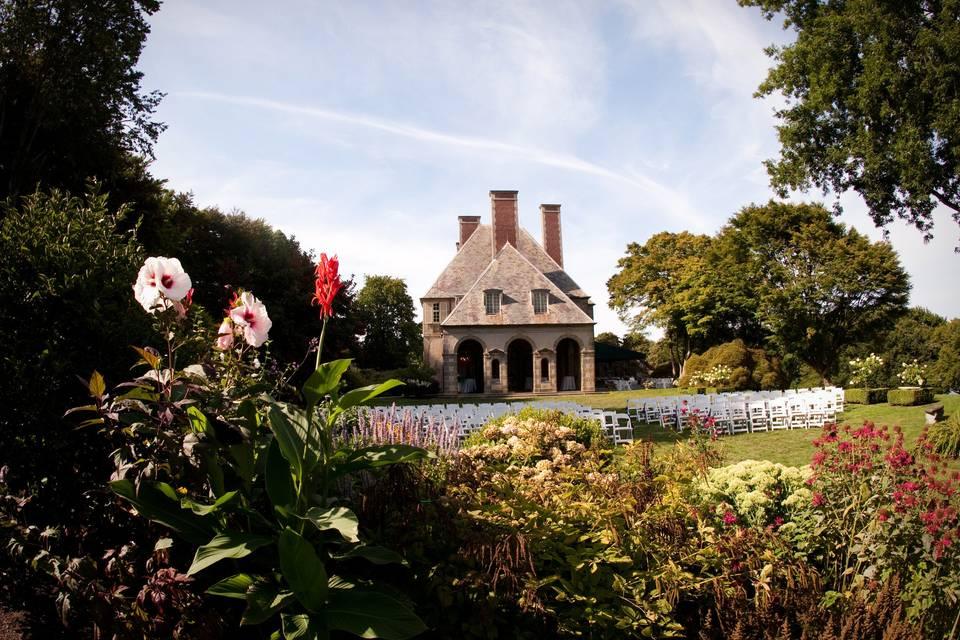 View of manor through gardens