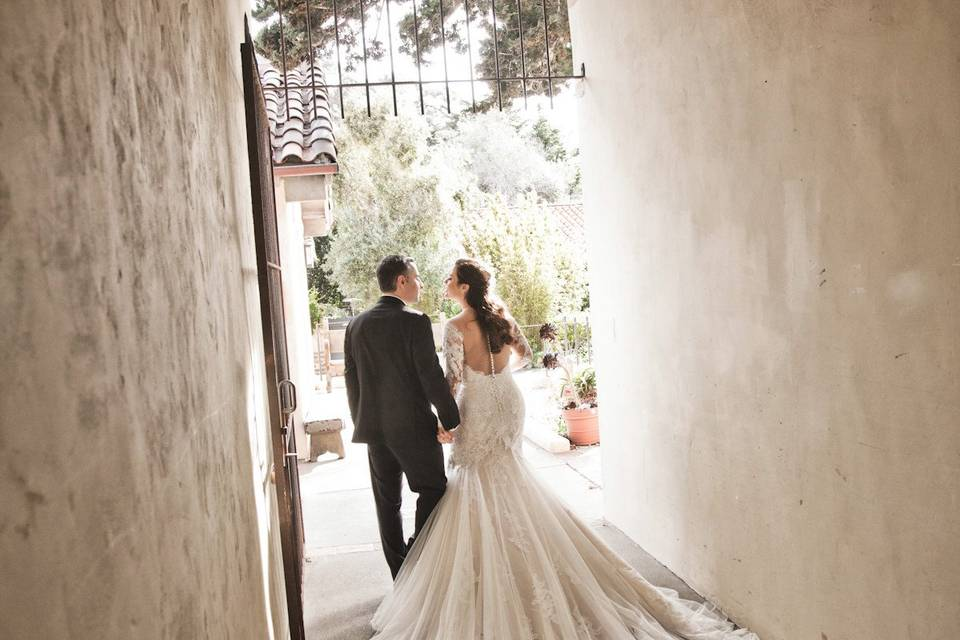 Couple in a hallway