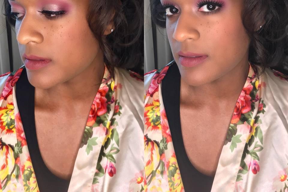 Pink shadow bridal makeup