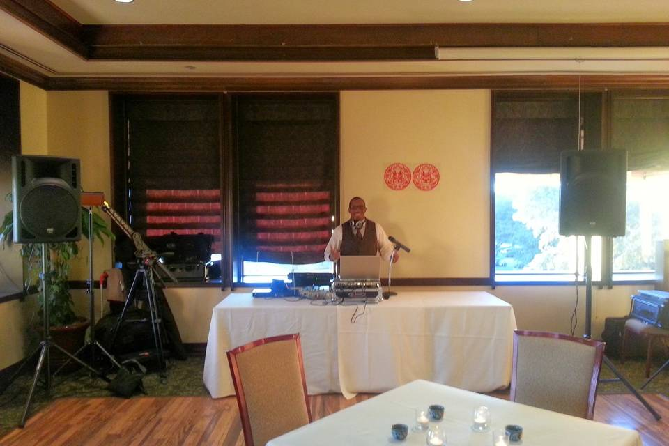 DJ-ing at Drew and Chao's wedding