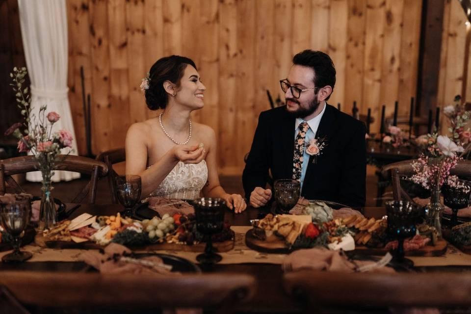 Bride & groom indulging!
