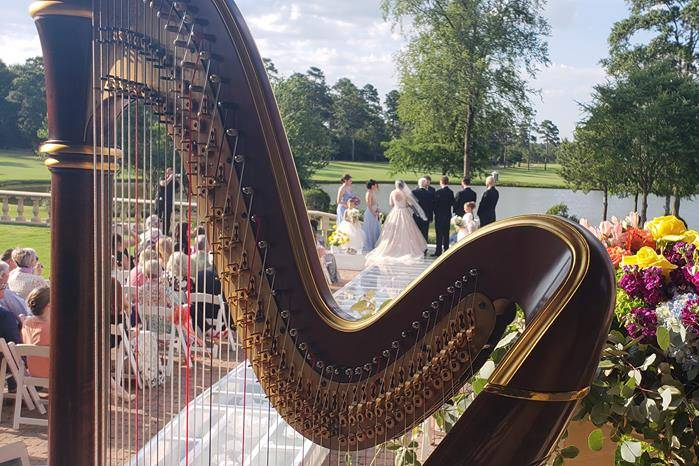 Harp with flowers at wedding