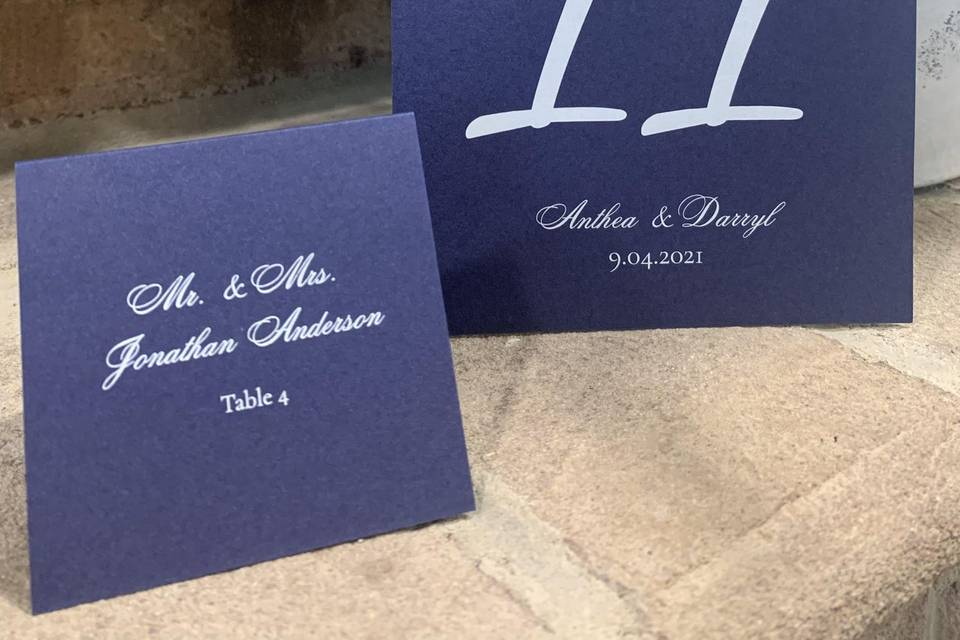 Table Numbers & Seating Cards