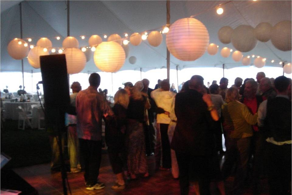 Lanterns decorating the tent