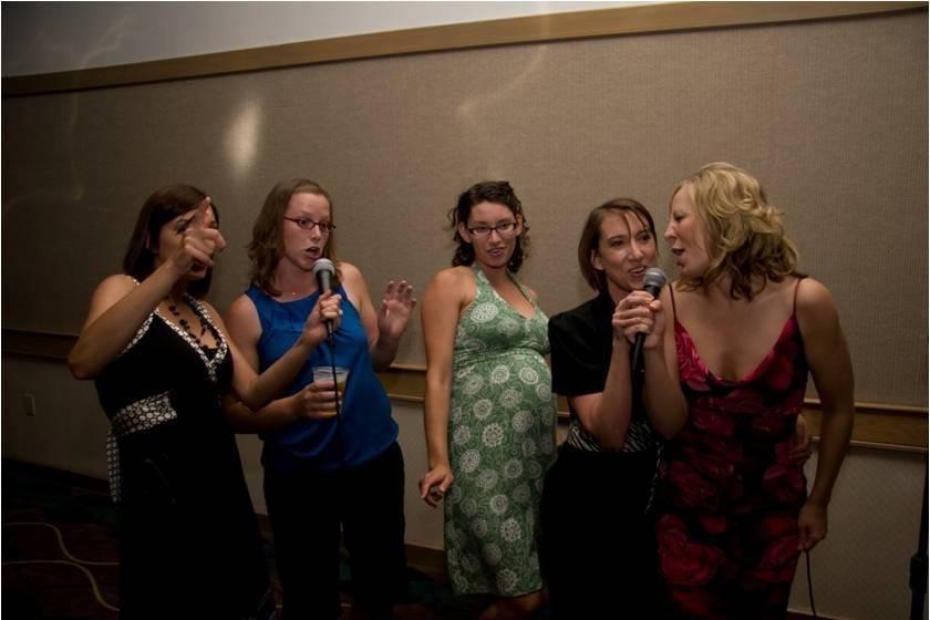 Ladies singing up front
