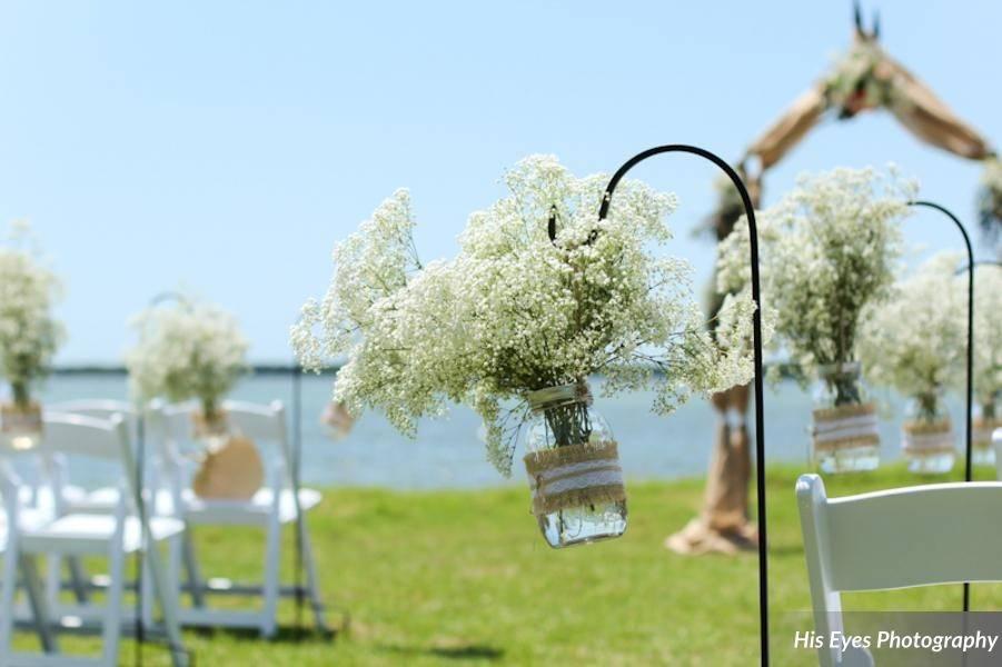 White flower decor on chair