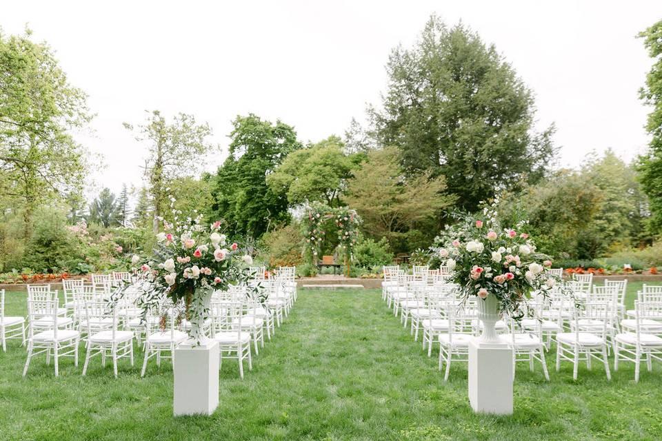 Outdoor ceremony florals
