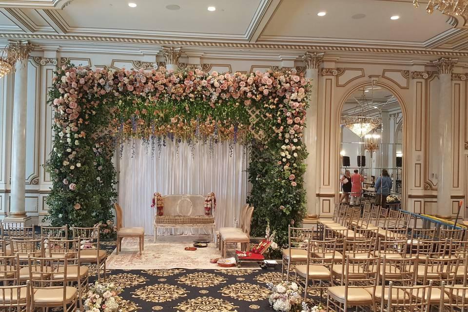 Floral mandap frame
