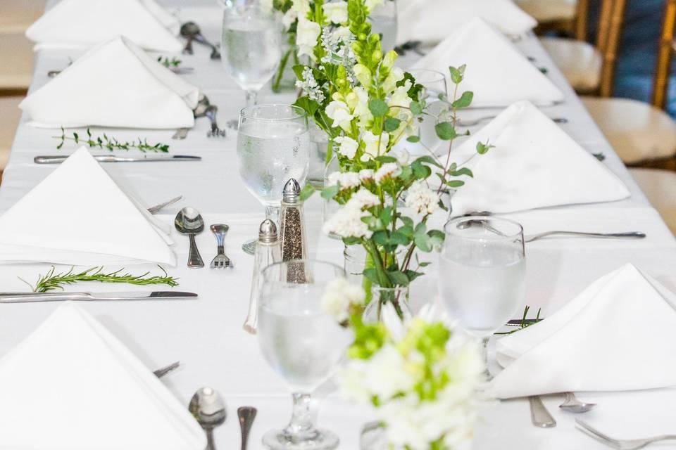 Long White Table Set-Up