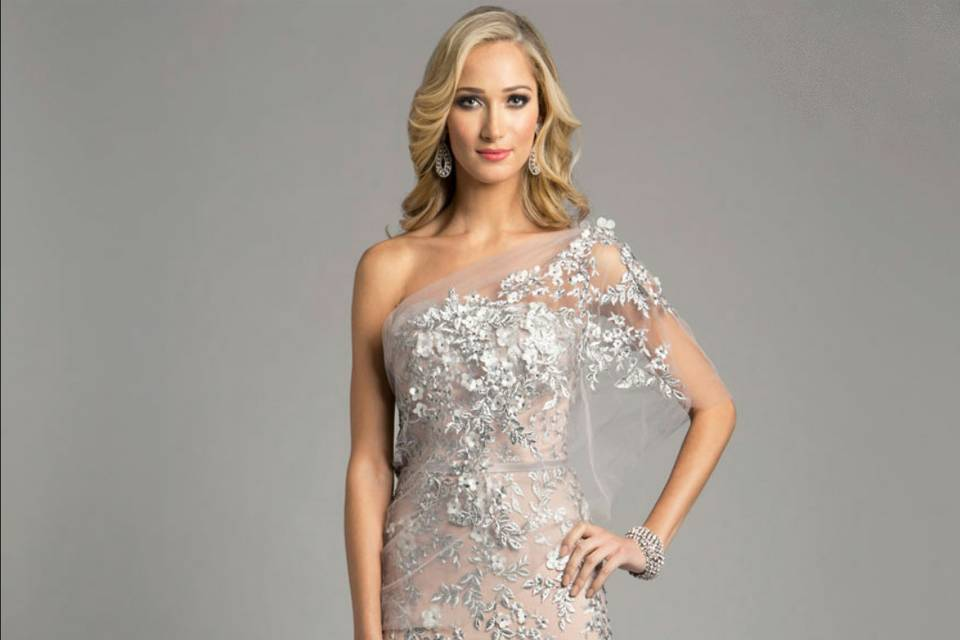 Couture inspired gown with embroidery and 3D flowers available at Shapes Dress Design Studio