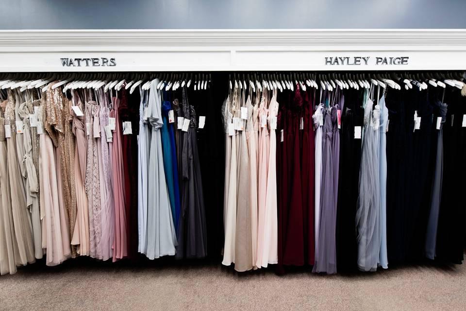 Range of bridesmaids' dresses