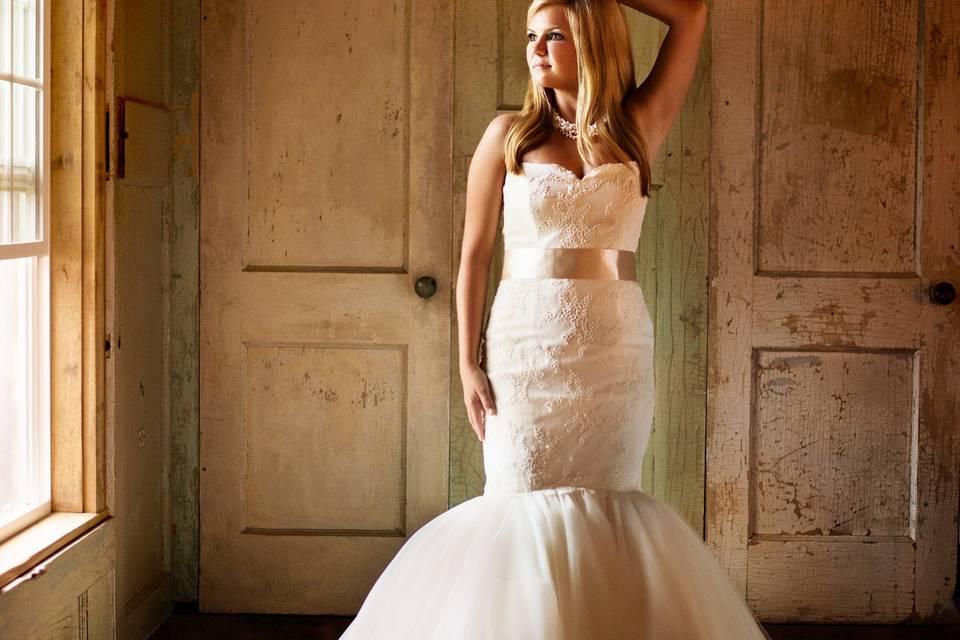 Bride in a mermaid tail wedding dress
