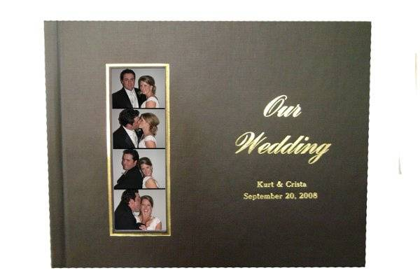 Personalized guest book with photo strips and comments from your guests.  Copies of the photo strips also go home with your guests.